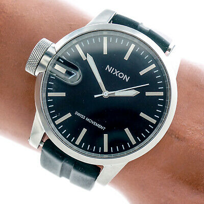 Nixon Mens Watch The Chronicle Magnified Large Black Date Dial Silicone Working