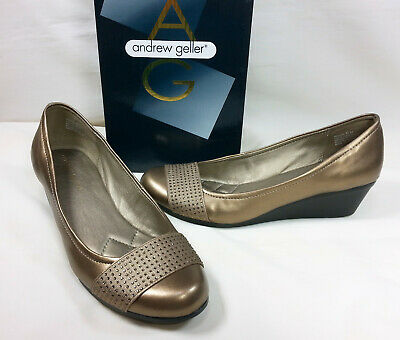 bb7475e44 Andrew Geller SENONA Womens Shoes Pump Wedge Heels Bronze Slip On Closed  Toe 8M