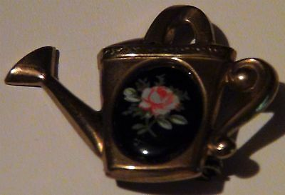 Rose Black Cameo Flower Brass Watering Bucket Pin Brooch Vintage Antique Unique
