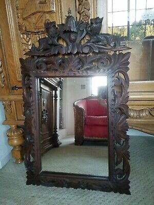 """Unique! Antique Ornate Carved LIONS Oak French Victorian Wall Mirror C 1890s 38"""""""