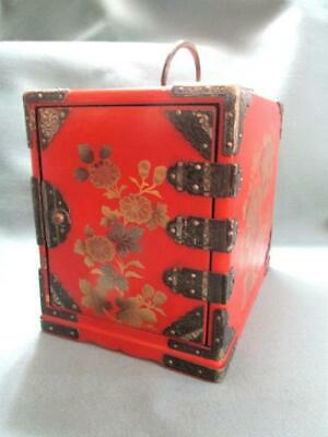 Old Red Lacquer Kodansu Gold And Silver Painting Silver Mounts