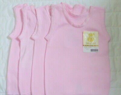 4 x Pink Cotton Baby Singlets. Size 0000.