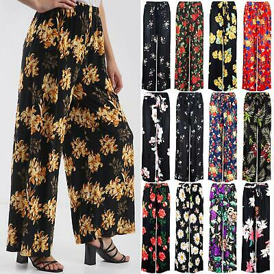 Womens Ladies Palazzo Floral Printed Flared Wide Leg Pants Legging Baggy Trouser