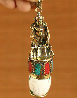 Chinese old copper handmade Tibet Buddha statue figure pendant netsuke decorate