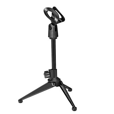 Adjustable Desktop Microphone Stand Tripod Tabletop Stand Foldable with Mic Clip