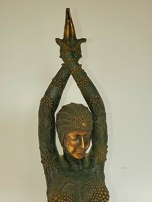 STATUE SCULPTURE ART Deco Style Bronze/signed Xmass Gift 4