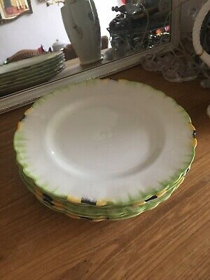 """Vintage Alfred Meakin Set Of 6 Art Deco 9"""" Dinner Plates  Excellent Condition"""