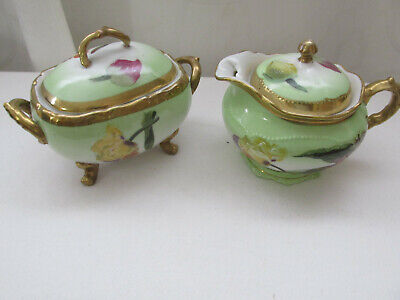 Oeg Royal Austria Signed Creamer And Sugar Hand Painted Floral On Green W/Gold