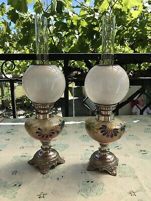 Pair Of Antique hand painted French glass oil lamps (used)