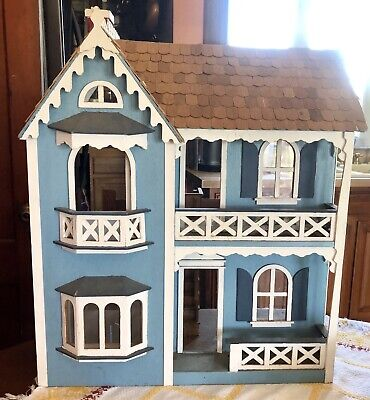 "Vintage Antique Blue Wood Wooden Victorian Handmade Dollhouse Cottage 24"" Tall"
