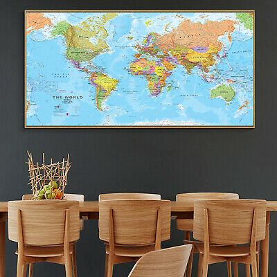 Globe Geographic Political HD World Map Canvas Poster Education Art Unframed 120