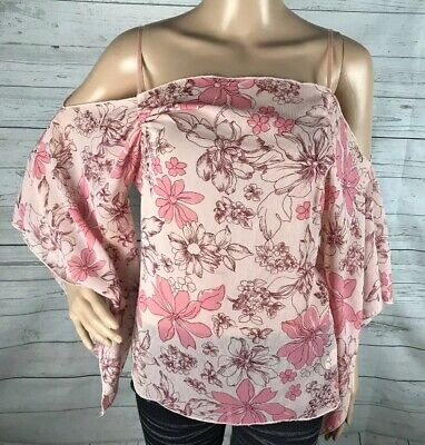 New Charlotte Russe 3//4 sleeve floral off shoulder blouse shirt club top S M L