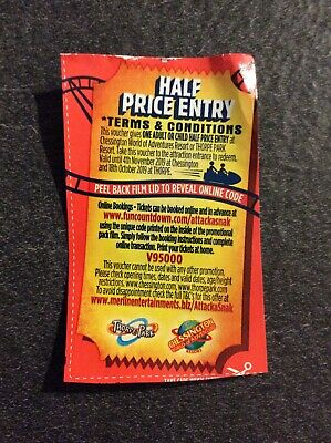Half Price Entry To Thorpe Park Or Chessington World Of Adventures Voucher