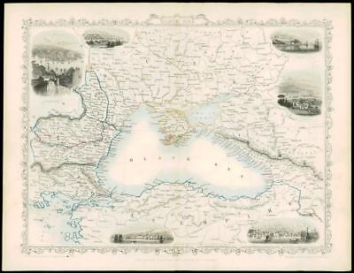 "1850 Antique Map of ""BLACK SEA"" RUSSIA TURKEY BULGARIA CRIMEA by Tallis (50d)"