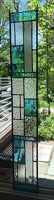 "Stained Glass Hanging Window Panel Decor Suncatcher Blue 28"" x 4"" Long Narrow"