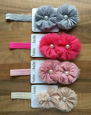 Baby Girls headband bundle x4 Infant Toddler Cute flora Flower HairBand Headwear