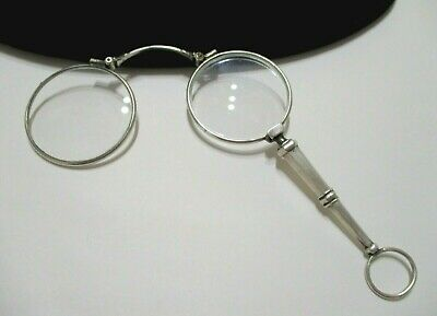 FRENCH Antique 800 SILVER Slide Release LORGNETTE Eyewear PENDANT c.1900