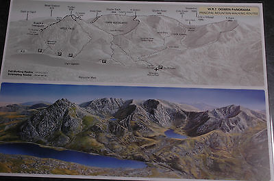 3D Aerial Panoramic A4 Fell Walking Map of Snowdonia No6 Laminated