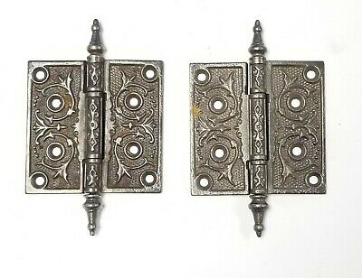 """A42 Antique Cast Iron Ornate Steeple Top Hinges (PAIR) 4"""" x 4"""""""