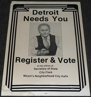 Detroit Mayor Coleman Young 1982 Register To Vote Election Poster