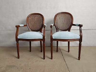 Pair of Vintage French Louis XVI Medallion Cane Back Armchairs Newly Upholstered