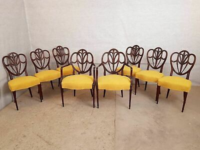 Set of 8 Vintage Hepplewhite Style Mahogany Shield Back Reupholstered Dining Cha