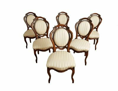 Set of 6 French Antique Louis XV Style Striped Gold Satin Medallion Dining Chair