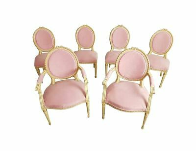 Set of 6 Antique French Louis XVI Restored in Pink Dining Chairs 2 Armchairs 4 S