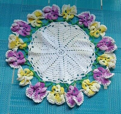 """Vtg Off White Yellow Purple Pansy Flower Floral Round Crochet Doily 10.5"""""""