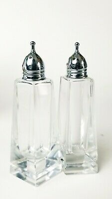 Art Deco tall cut crystal glass and silverplate salt and pepper shakers