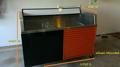 Refrigerated Bar Fridge Open Catering Food Drink Display.Commercial Fridge.