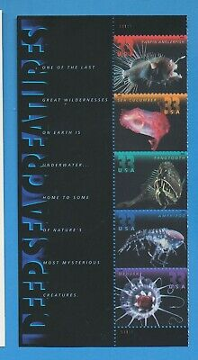 USA - Scott 3439-3443 - Deep Sea Creatures - selvage strip of 5 x 33ct  2000 MNH