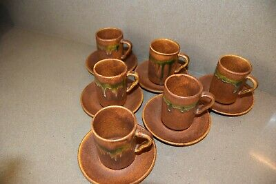 RAY COOK POTTERY 6 Red Earth Terracotta Landscape Espresso Mugs & Saucers