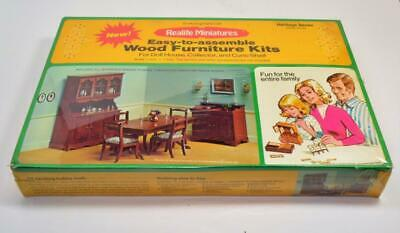 NOS 1974 Doll House Wood Dining Room Furniture Kit #190 Realite Miniatures