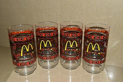 4 Coca Cola McDonald's Canada Glass Vintage 1970's Stained Glass -NEW