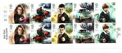 Harry Potter Royal Mail 2018 Stamps 10 Stamp BLOCK WITH DATE AND COLOURS; mint