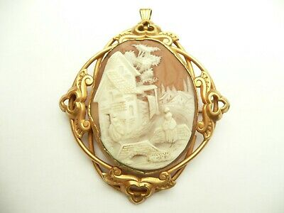 Antique Victorian Large Gold Carved Cameo Pendant  Brooch Cottage & Bridge C1850