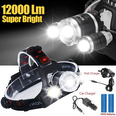 12000LM 3 x XML CREE T6 LED Rechargeable Head Torch Headlamp HeadLight Lamp
