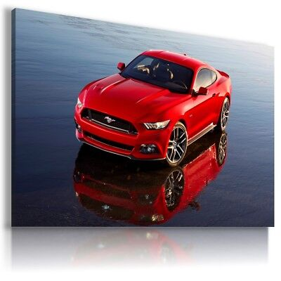 FORD MUSTANG SILVER GREY Sport Car Large Wall Canvas Picture ART  AU610 MATAGA