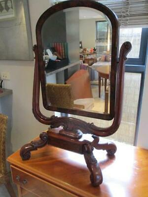 Antique Victorian Flame Mahogany Dressing Table Mirror Ornate Carved Details