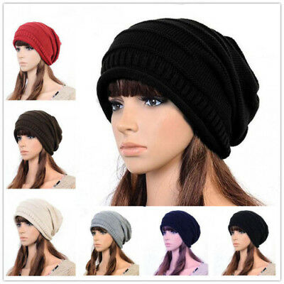 Unisex Womens Mens Winter Warm Skiing Snow Knitted Slouch Baggy Beanie Hats Caps