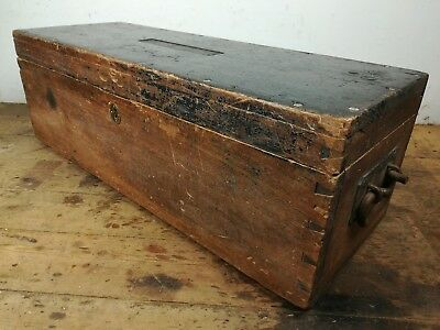 Long mahogany wood military chest old vintage carpenters