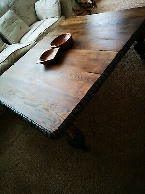 Large antique Victorian Oak Country Farmhouse JACOBEAN STYLE CARVED coffee table