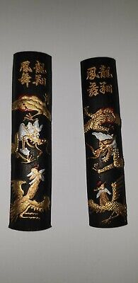 Vintage  Chinese Calligraphy Paint Sticks Black Ink & Gold Dragon & Phoenix Anib