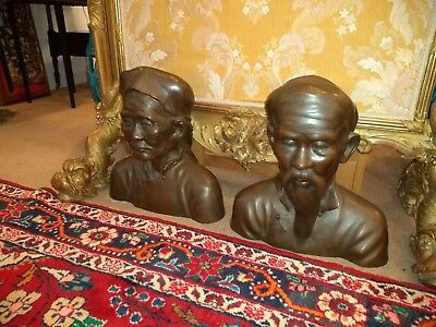 Pair Old or Antique Chinese  ? Style Bronze Sculpture Poss French or Vietnamese