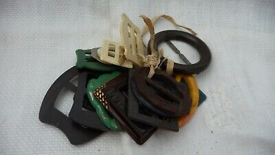 #421 vtg MIXED  LOT of 15 BELT BUCKLES PLASTIC & Bakelite