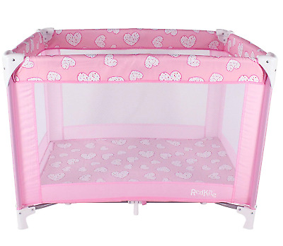 RedKite SleepTight Travel Cot, Pink with Hearts, Mattress and Carry Bag, Boxed !