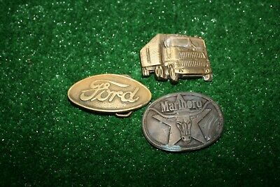 Lot 3 Vintage 70s/80s Brass Belt Buckles Ford Marlboro Semi Truck