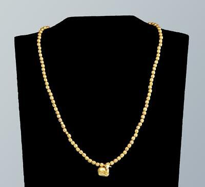 Ancient Greek gold necklace with a gold lamb pendant: Circa 4th century BC.