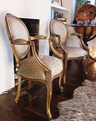 Pair of French Style Gold Gilt Carved Armchairs